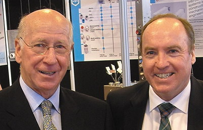Doug Devlin with Sir Bobby Charlton, who opened the Drives & Controls Show in 2006.