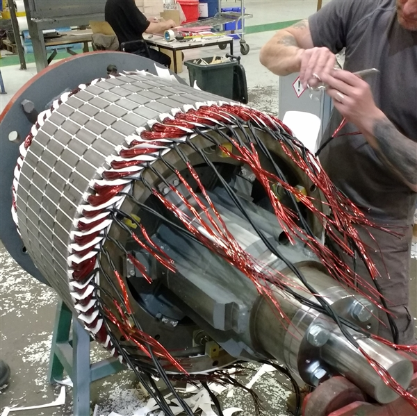 Exciter winding being worked on in Quartzelec's Rugby factory production area