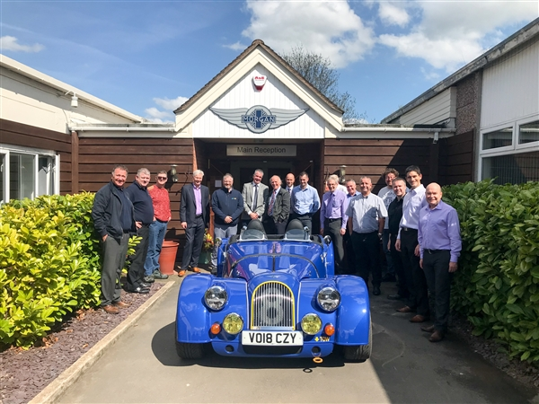 AEMT Members gather behind a limited edition Morgan Plus 8
